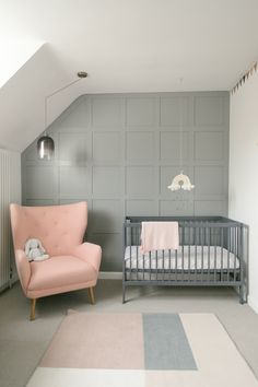 blue pink & grey gender neutral nursery baby decor & inspiration with DIY changing table panelled walls and upcycled recycled furniture & wooden peg rail Baby Bedroom, Bedroom Wall, Kids Bedroom, Bedroom Decor, Kids Rooms, Kids Wall Decor, Baby Decor, Nursery Neutral, Nursery Grey