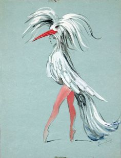 Dorothea Tanning,Costume Design for Bayou, 1951,Graphite and gouache on green paper,12 1/2 x 9 1/2 inches,Collection of the artist
