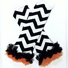 Black/Orange Chevron Leg Warmers