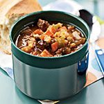 Beef and Barley Soup 398 Calories Make this soup the night before to allow time for its flavors to develop. Pour hot servings into a thermos to take for lunch, or reheat individual portions in the microwave as needed. Serve with a 1.5-ounce slice of crusty bread (123 calories) to soak up the soup.