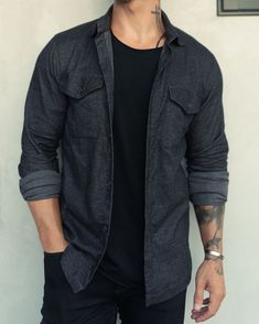 Untucked Slim Fit Button-Up The Untucked Rolled Sleeve Men's Button-Up is the way a fitted button up should look and feel whe Mens Button Up, Button Up Shirts, Gray Shirt Outfit, Mens Clothing Styles, Older Mens Clothing, Herren Outfit, How To Roll Sleeves, Casual Outfits, Men's Casual Shirts