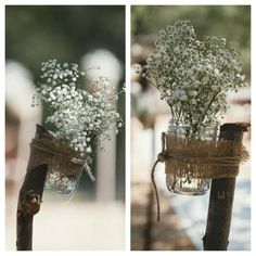 Wedding Ceremony Decor: real wood branches...mason jar with burlap and twine and baby's breath..posted down the aisle