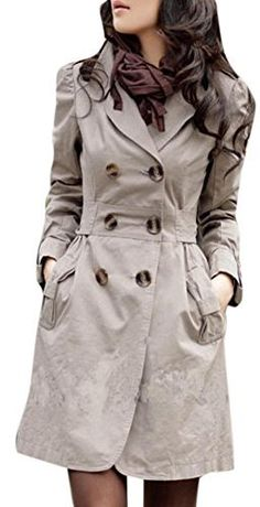 Lingswallow Women Elegant Double Breasted Belted Long Jacket Trenchcoat M Khaki Sweater Coats, Sweaters, Long Jackets, Coats For Women, Double Breasted, Fashion Brands, Cute Outfits, My Style, Cotton