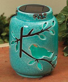 This Solar Ceramic Bird Lantern is perfect! #zulilyfinds