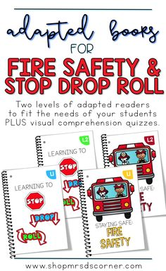 Fire Prevention Week is the second week of October. It is the perfect time to talk about fire safety! Use these adapted books to teach your students all about what to do and what not to do if there is a fire, as well as the steps in stop, drop, and roll. Includes two sets of two books, and a visual comprehension quiz for each book. Only at Mrs. D's Corner.