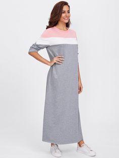 Контрастное модное платье-свитшот