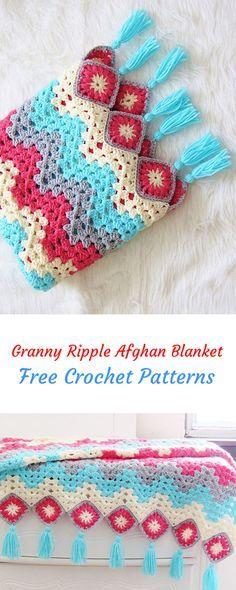Granny Ripple Afghan Blanket Free Crochet Pattern #crochet #yarn #crafts #homemade #handmade #homedecor