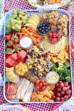 Summer Picnic Snack Tray by The BakerMama Party Platters, Cheese Platters, Food Platters, Serving Platters, Bagel Bar, Plateau Charcuterie, Charcuterie And Cheese Board, Cheese Board Display, Cheese Boards