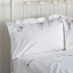 EMMA HEIRLOOM PILLOWCASES, SET OF 2--Lovingly detailed embroidery on crisp white cotton harkens memories of simpler times. Cotton. Imported. Catalog exclusive.
