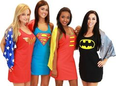 Batman, Superman, Robin and Wonder Woman dress with cape---would be fun for pjs or for girls superhero slumber party