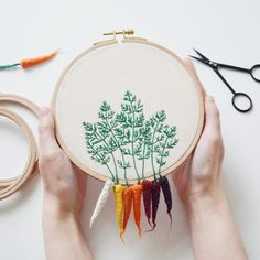 Rainbow Carrots  Hand Embroidered Hoop   Easter by greenaccordion