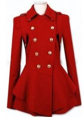 Sparkly Turndown Collar Puff Sleeve Red Shirred Waist Coat with Button