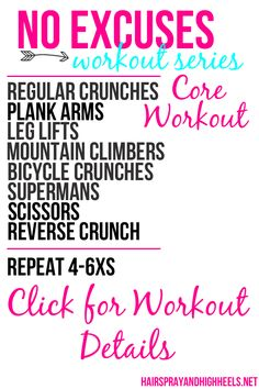 Check This Out!  No Excuses Workout Series: Core Workout