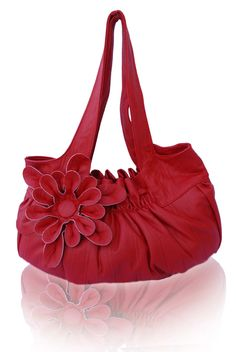 49fe74a0e7 Sale.. Faux Leather Purse   Handbag   Shoulder Bag with Stylish Flower  Applique -