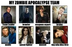 """My Zombie Apocalypse Team: Admiral Adama from """"Battlestar Galactica"""", Peter Bishop from """"Fringe"""", Claudia Donovan from """"Warehouse 13"""", Dr. Walter Bishop from """"Fringe"""", Dr. Bones McCoy from """"Star Trek: TOS"""", H.G. Wells from """"Warehouse 13"""", Astrid Farnsworth/Gene from """"Fringe"""" and Red shirt Bieber"""