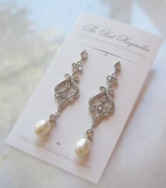 Swarovski Pearl and Crystal Earrings, Chandelier Earrings, White, Ivory, Vintage Style Rhinestone Earrings - CLAUDETTE