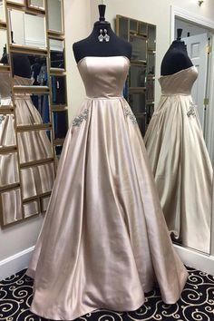 Sweetheart strapless light grey simple long A-line prom dress for teens, graduation dress