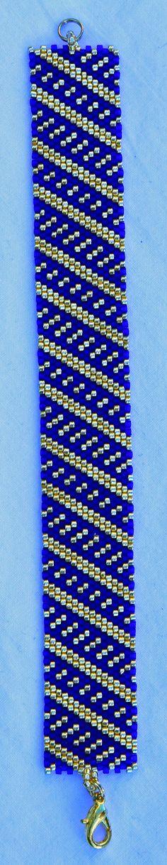 armband in peyote kobalt/goudkleurig