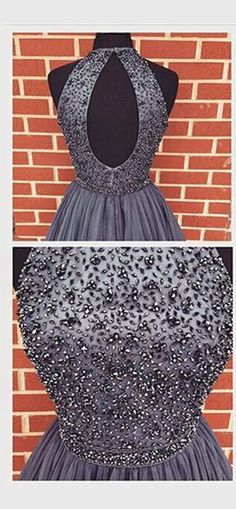 2016 Fashion Halter Grey Tulle Back O Homecoming Dresses Short Prom Dress, Beaded Bodice Backless Short Homecoming Dress Sweet 16 Party Gowns