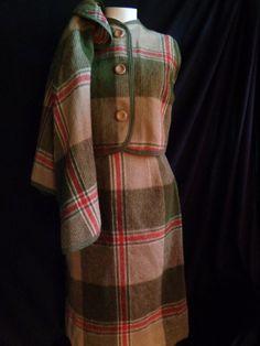 1950's suit wool three piece cape skirt vest by vintagewayoflife