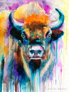 Colorful Bison watercolor painting print animal by SlaviART Oil Painting On Canvas, Painting Prints, Wall Art Prints, Watercolor Paintings, Original Paintings, Painting Art, Buffalo Painting, Buffalo Art, Jaguar Tier