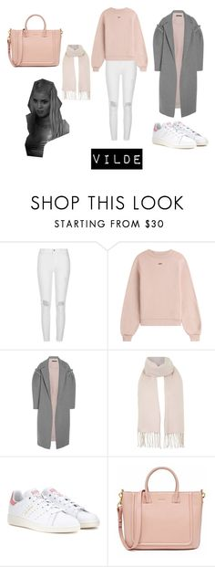 """SKAM--Vilde"" by fatimasboutique ❤ liked on Polyvore featuring River Island, Off-White, Mother of Pearl, Topshop and adidas"