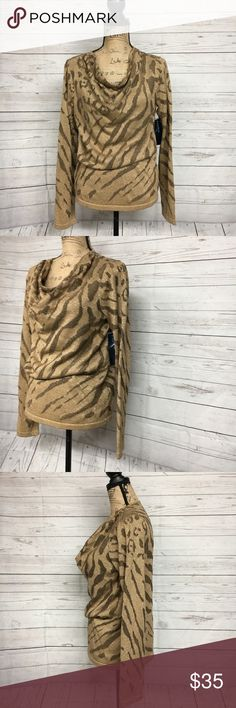 "Jones New York Tiger Gold Sweater Scoop Neck Jones New York NWT Tiger Desing Gold Sweater Scoop Neck Women's Size Large  Brand new with tags. Please refer to images for more details about this item. If you have any questions please feel free to ask. Measurements are taken with the item laying flat.   Armpit to Armpit 21"" Shoulder to Hem 27"" Jones New York Tops"