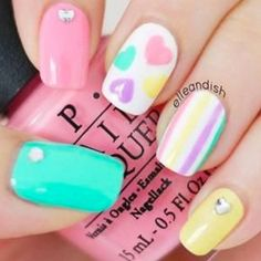 Pink French Tips with white free-hand hearts and decal words, Crystal accents, Valentine Nail Art Related Posts:french nail art designs of day nail art 2017 cuteadorable valentine's day nail art valentine nail designs 2016 Related Nail Art Designs, Easter Nail Designs, Long Nail Designs, Pretty Nail Designs, Nails Design, Design Art, Pastel Nail Art, Red Nail Art, Red Nails