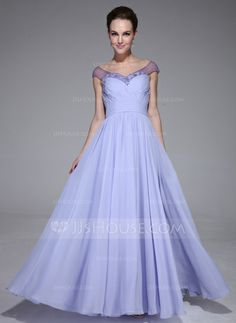 Evening Dresses - $132.99 - A-Line/Princess Off-the-Shoulder Floor-Length Chiffon Tulle Evening Dress With Ruffle Beading (017041153) http://jjshouse.com/A-Line-Princess-Off-The-Shoulder-Floor-Length-Chiffon-Tulle-Evening-Dress-With-Ruffle-Beading-017041153-g41153?ves=y0now5&ver=hd8yk