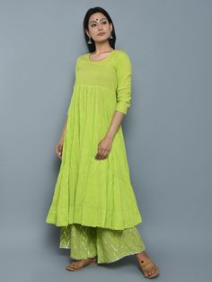 Lime Green Cotton Crushed Kurta