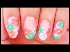 Simple Spring Flowers nail art - YouTube