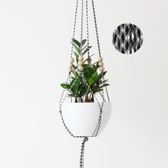 HOUNDSTOOTH / Hanging Planter without Pot / Large by HRUSKAA, $57.00-- Inspiration from Etsy