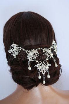 Wedding Headpiece Back Hair Piece Bridal Hair by LuluSplendor