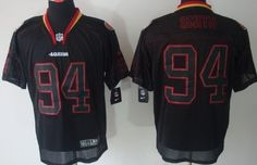 Nike San Francisco 49ers #94 Justin Smith Lights Out Black Elite Jersey
