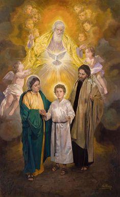 Holy Family / Sagrada Familia // 2017 // Raúl Berzosa // Private Collection, Guatemala // #HolyTrinity #EternalFather #HolySpirit #YoungChrist #ChildJesus #VirginMary #SaintJoseph