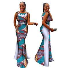 New Bazin Riche African Dress Woman O Neck Mermaid Dresses Dashiki Wax by laviye - 2019 Dresses, Skirt, Shirts & Ankara Dress Styles, African Lace Dresses, African Dresses For Women, African Wear, African Fashion Dresses, African Style, African American Fashion, Africa Dress, Dashiki