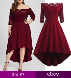 Plus Size Women Casual Three Quarter Off Shoulder Boho Lace Long Evening Dress >> Check this amazing product by going to the link at the picture. (This is an affiliate ) Plus Size Red Dress, Plus Size Cocktail Dresses, Plus Size Dresses, Big Size Dress, Evening Gowns With Sleeves, Plus Size Evening Gown, Evening Party Gowns, Maxi Dress Wedding, Short Bridesmaid Dresses