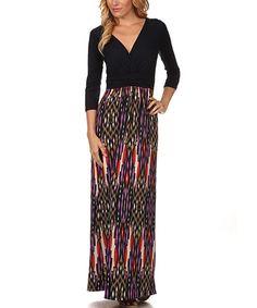 This Navy & Purple Ikat Surplice Maxi Dress is perfect! #zulilyfinds
