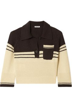 Ecru and dark-brown cashmere Button fastenings along front cashmere; trim: cashmere, polyamide, elastane Dry clean Shell: Indonesia Made in Italy Ralph Lauren Rugby Shirt, Polo Shirt Outfits, Polo Shirt Women, Royal Clothing, Cashmere Turtleneck, Look Cool, Miu Miu, Knitwear, Cute Outfits