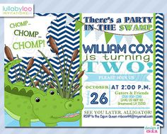 Alligator Birthday Invitations 511   Set of 12 by LullabyLoo, $18.00 #swamp birthday #alligator birthday #boys #party invitations Alligator Party, Alligator Birthday, 10th Birthday, 1st Birthday Parties, Birthday Ideas, Boy Birthday Invitations, Party Invitations, Frog Baby Showers, Birthday Decorations