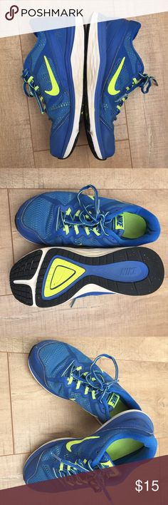 Kids Nike Shoes Kids Nike Dual Fusion Running shoes. Fun blue & neon green sneakers in good used condition. Very fun! Nike Shoes Sneakers