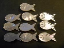 20mm Fish Carved Mother o Pearl Shell Nacre Button Metal Applied Shank Lot of 10