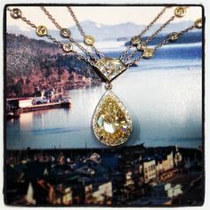 Ketchikan,Alaska as a backdrop here...what's on it? A breath-taking gorgeous natural yellow diamond necklace. The pear shape shining like the sun is 4.50ct complimented by a shield shaped natural white diamond weighing 1.14ct. Even the chain has yellow and white diamonds! Suited for all you queens and princesses. Only at #zhavericaribbeangems #ketchikan #ktn #alaska #greatdeals #greatservice #luxury  #diamonds #fashion #fancy #love #jewelry   #stmaarten #stmartin #sxm #caribbean #zhaveri