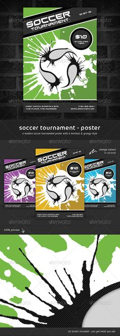Buy Soccer Tournament - Poster by wattscreative on GraphicRiver. Here's a high impact, grungy styled football/soccer themed poster, perfect to publicise and advert. Football Soccer, Soccer Ball, Soccer Tournament, Grunge, Sports Flyer, A4 Poster, Photoshop, Print Templates, Flyer Template