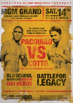 Pacquiao vs Cotto Poster by Brian Brobbey-Griffiths, via Behance