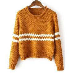 SheIn(sheinside) Yellow Round Neck Striped Crop Knit Sweater