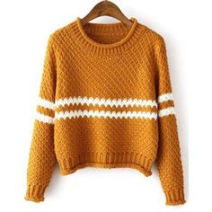 SheIn(sheinside) Yellow Round Neck Striped Crop Knit Sweater