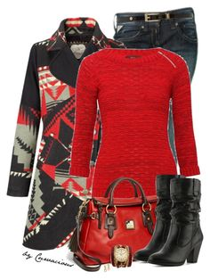 """""""The Outer Layer"""" by curvacious ❤ liked on Polyvore featuring Joe Browns, Biba, Dooney & Bourke, White Mountain, Sara Designs, Marc by Marc Jacobs, casual, Boots, prints and jeans"""