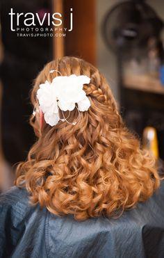 Wedding Hair styles with flower, Half up half down curly wedding hair, Half french braided hair, Travis J Photography, Colorado
