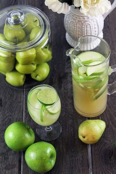 *Sour Apple and Pear Sparkling Sangria - 1 bottle dry sparkling white wine, 12oz. can pear nectar, 1/2C. apple vodka, 1/3C. simple syrup, 1/3C. lime juice.  For the garnish add 1-2 sliced pears, 2 sliced limes and 1-2 green sliced apples.